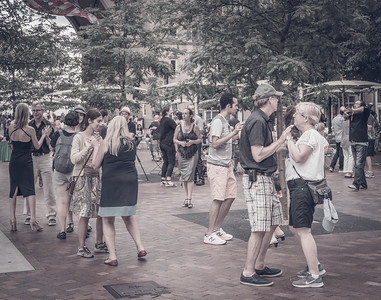 Beginner tango couples take their first steps