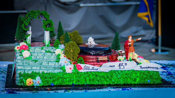Christopher Columbus Park cake complete wtih Chris, the trellis and fountain!