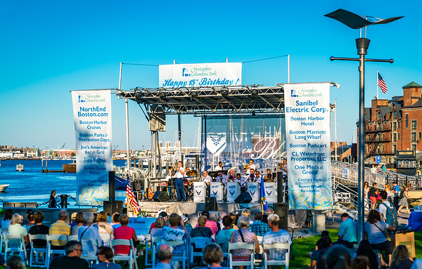 Waterfront scene with U.S. Air Force Rhythm in Blue Jazz Band performing at FOCCP 15th Birthday Bash