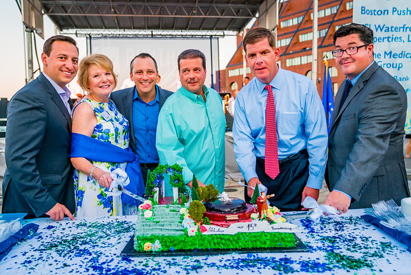 Cutting the birthday cake, (L-R) Sen. Joe Boncore, FOCCP Pres. Joanne Hayes-Rines, Rep. Aaron MIchlewitz, Past FOCCP President Dan Nuzzo, Mayor Marty Walsh, Parks Chris Cook