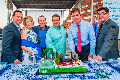 Cutting the birthday cake, (L-R) Sen. Joe Boncore, FOCCP Pres. Joanne Hayes-Rines, Rep. Aaron MIchlewitz, Past FOCCP President Dan Nuzzo, Mayor Marty Walsh, Parks Chris Cook