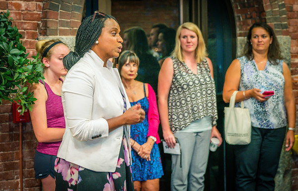 City Councilor At-Large Ayanna Pressley speaks at the NEWRA Summer Party
