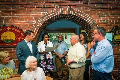 City Councilor Ayanna Pressley reads City Council citation
