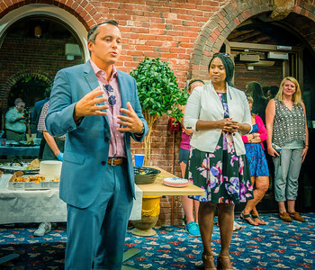 State Rep. Aaron Michlewitz speaks at the NEWRA Summer Party