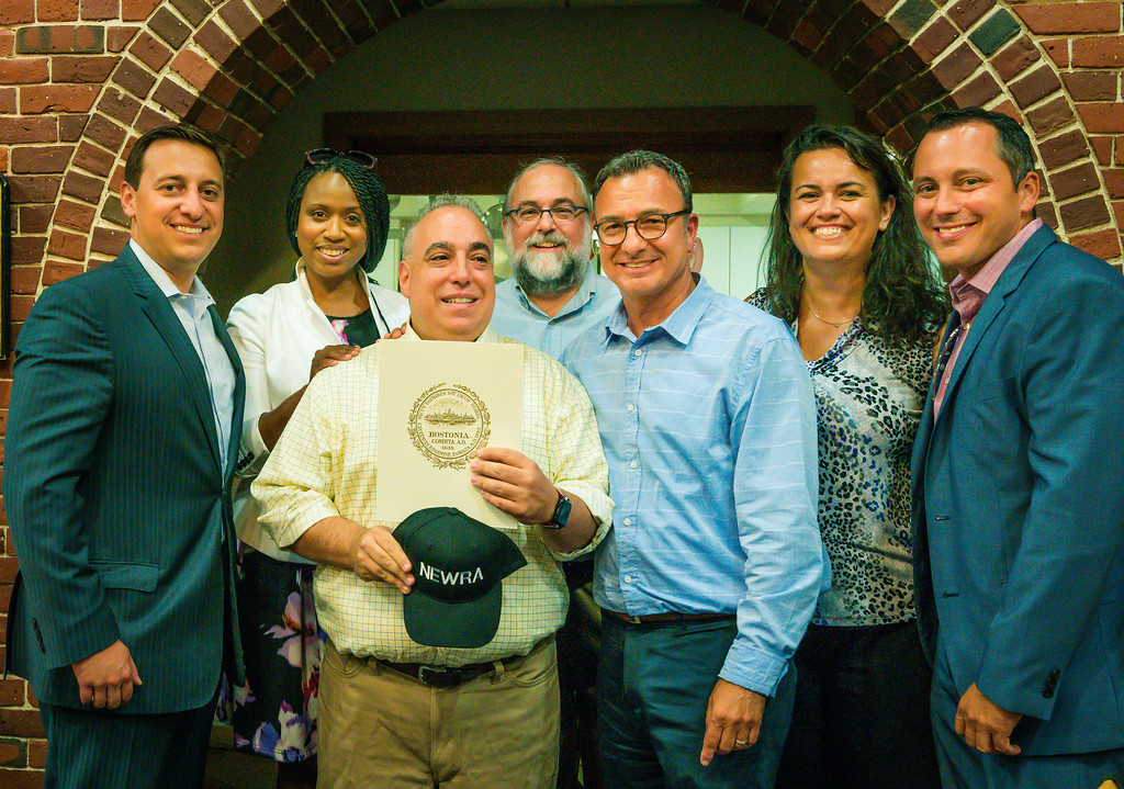 Matt Conti of NorthEndWaterfront.com was recognized for community service by NEWRA executives and with a Boston City Council citation (L-R) Sen. Joe Boncore, Councilor Ayanna Pressley, Matt Conti, NEWRA President Ford Cavallari, Councilor Sal LaMattina, Councilor Annissa Essaibi-George and Rep. Aaron Michlewitz