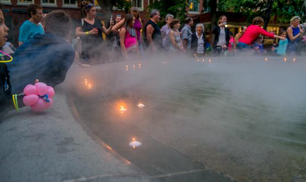 Candles in the Prado Fountain