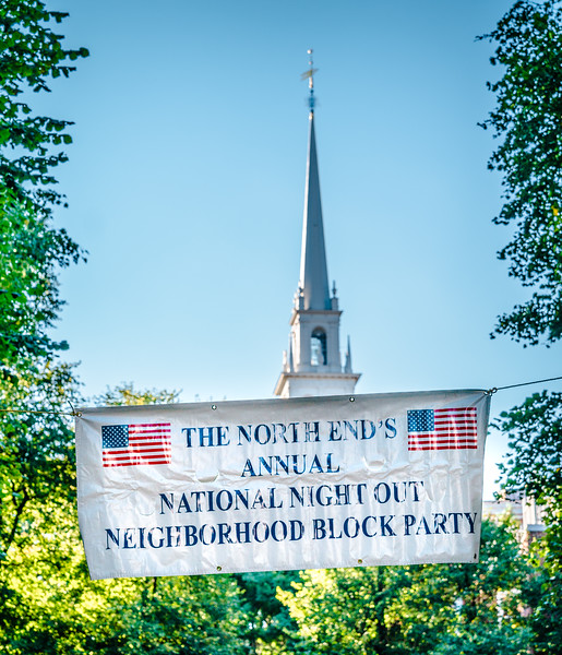 National Night Out in the North End Banner with Old North Church