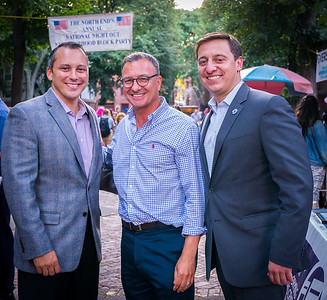 The North End's elected officials, (L-R) State Rep. Aaron Michlewitz, City Councilor Sal LaMattina and State Senator Joe Boncore