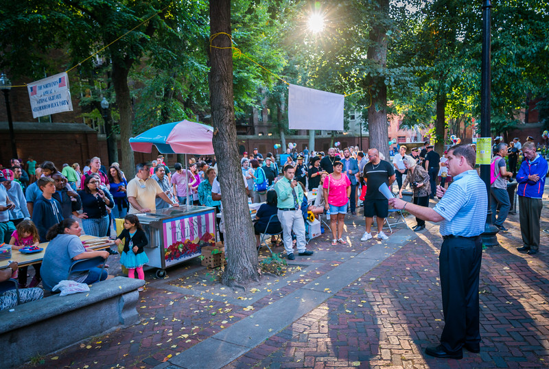 Boston Mayor Marty Walsh speaks at North End's Annual National Night Out Neighborhood Block Party