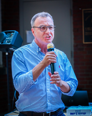 City Councilor Sal LaMattina speaks at National NIght Out on the Prado