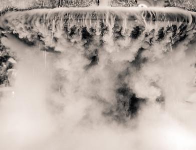 Smoke effect at the Prado Fountain