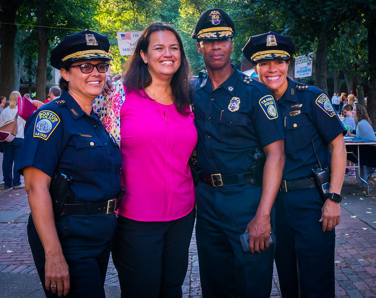 Police Officers pose with City Councilor At Large Annissa Essaibi George