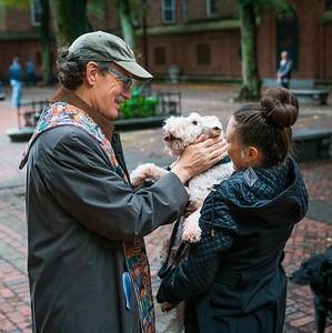 Rev. Steve Ayres blesses the animals