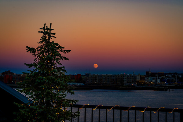 Supermoon on the harbor