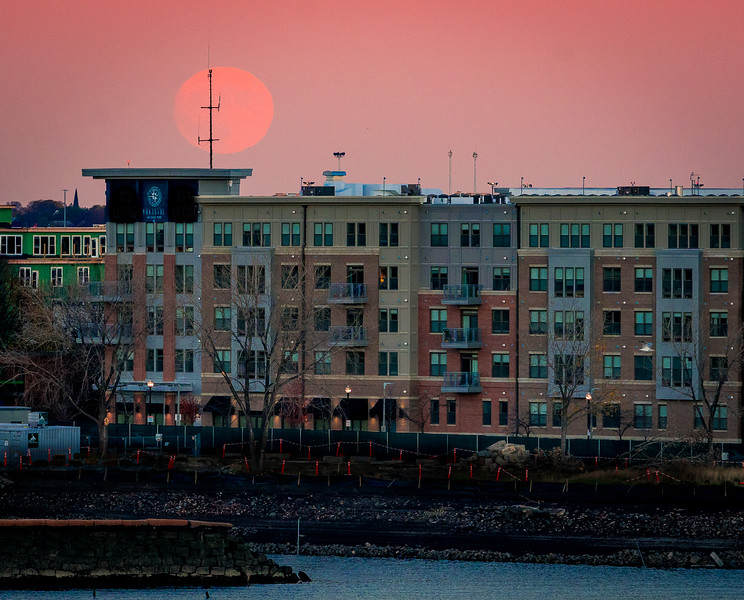 Supermoon rises over East Boston
