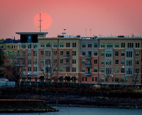 Supermoon rises over East Boston
