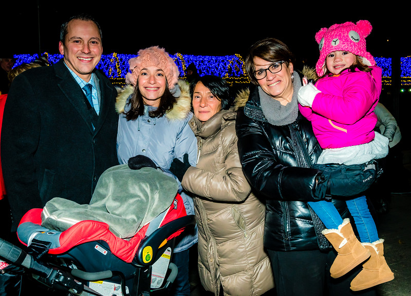 North End revelers at the trellis lighting