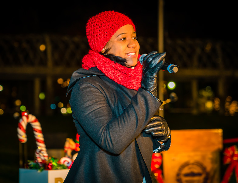 Holiday singer at the celebration for the annual trellis lighting