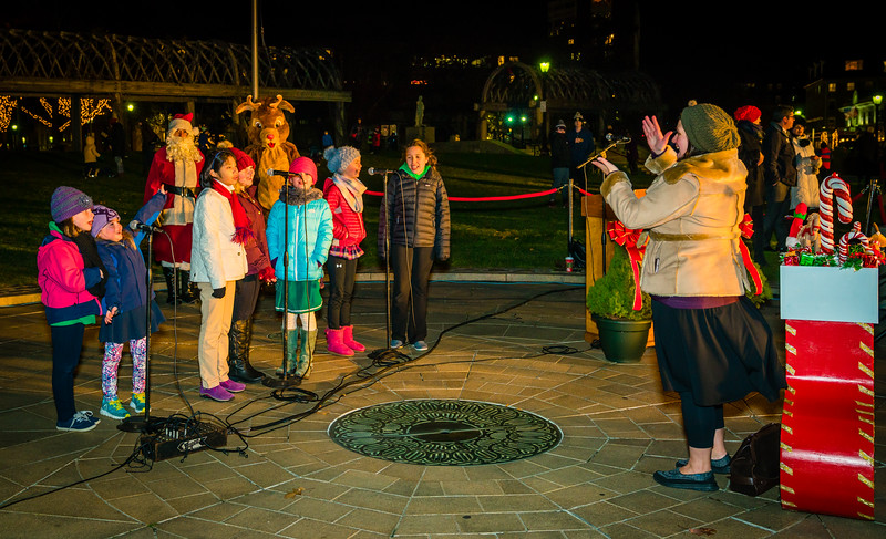 NEMPAC youth singers perform at the trellis lighting