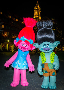 Characters at the trellis lighting celebration