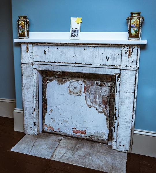 Original fireplace at Lathrop Place