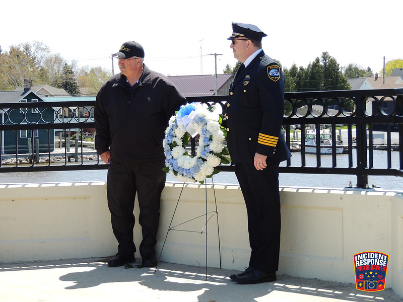 Fallen Officer Wreath Laying Ceremony on the 22nd Street Bridge in Two Rivers, Wisconsin on Monday, May 16, 2016. Photo by Asher Heimermann/Incident Response.