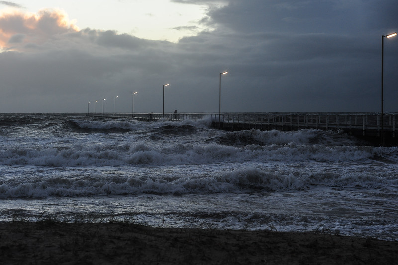 Storm surge at Semaphore Jetty.