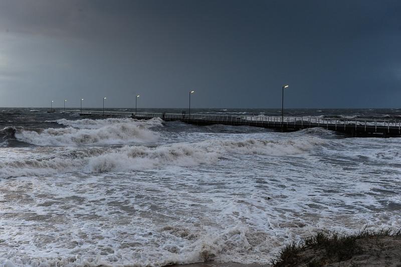 Storm surge at Semaphore Jetty.