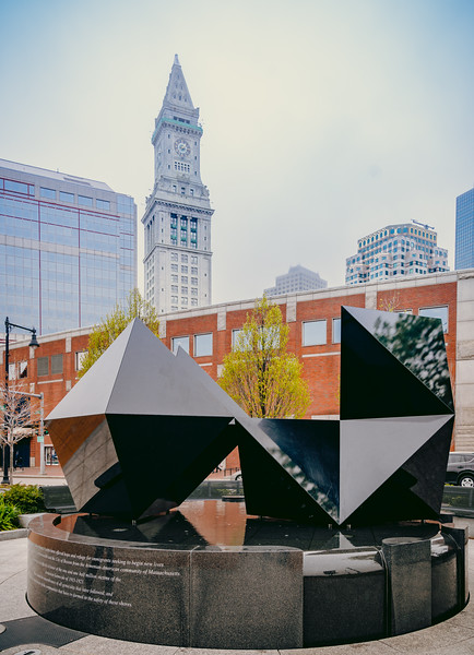 Abstract Sculpture with Custom House in background