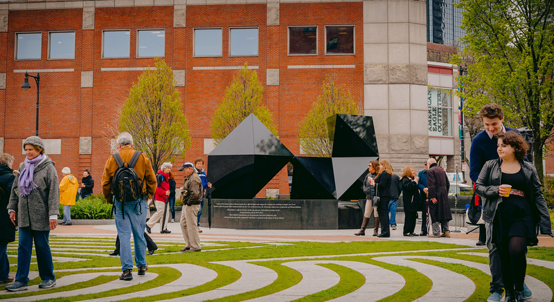 Walking the labyrinth amid the Abstract Sculpture