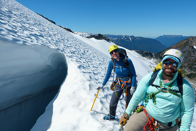 Checking out a Crevasse. This is the obvious crevasse you can see from photos, at about 6500'