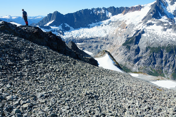 Chris, with the nooksack glacier behind him.