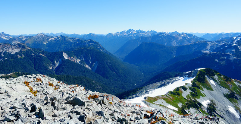 From the summit, looking back the way we came. The Hannegan creek valley.