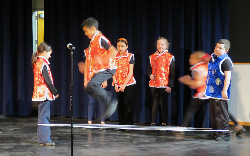 Lower School demonstrating Chinese jump rope