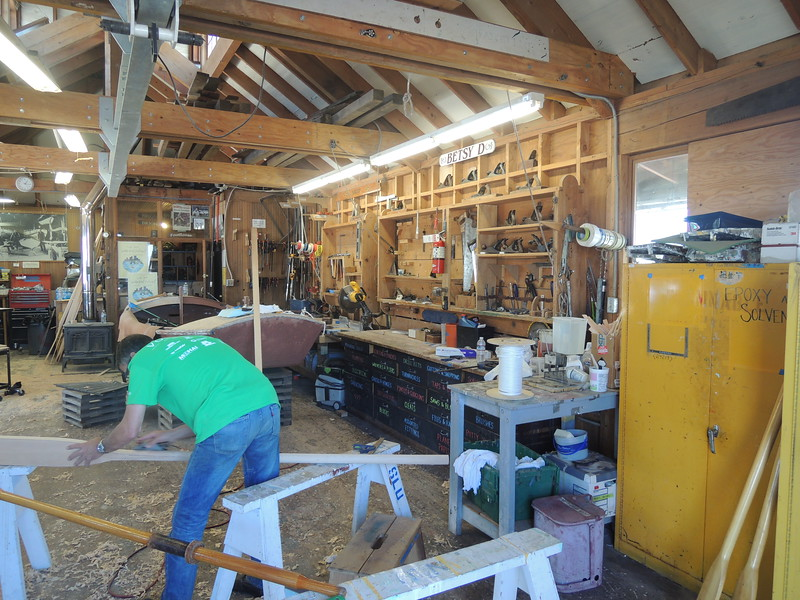 In boatbuilding, what is not hard work is mostly sanding.