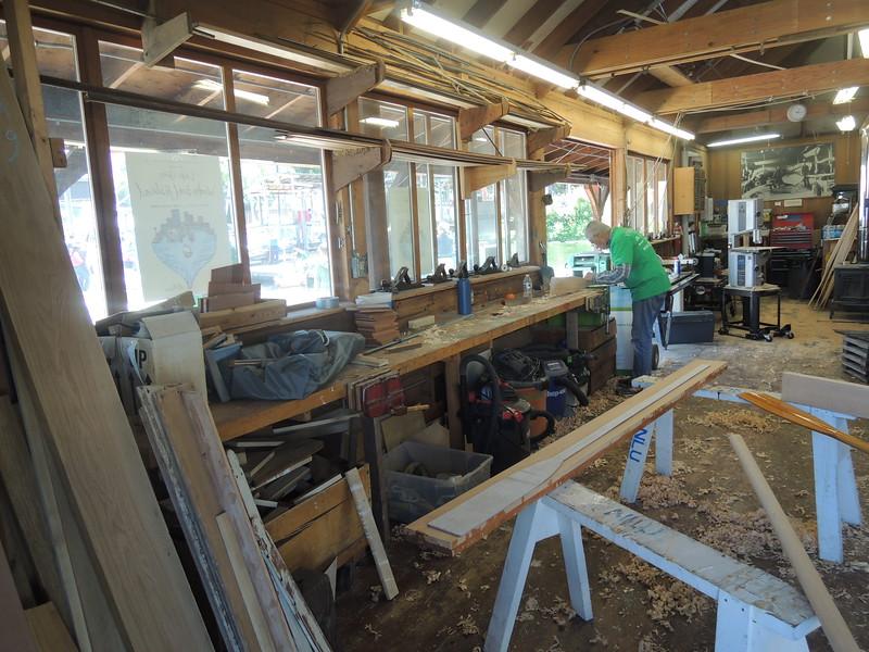 The boatshop.  Oar making in progress.