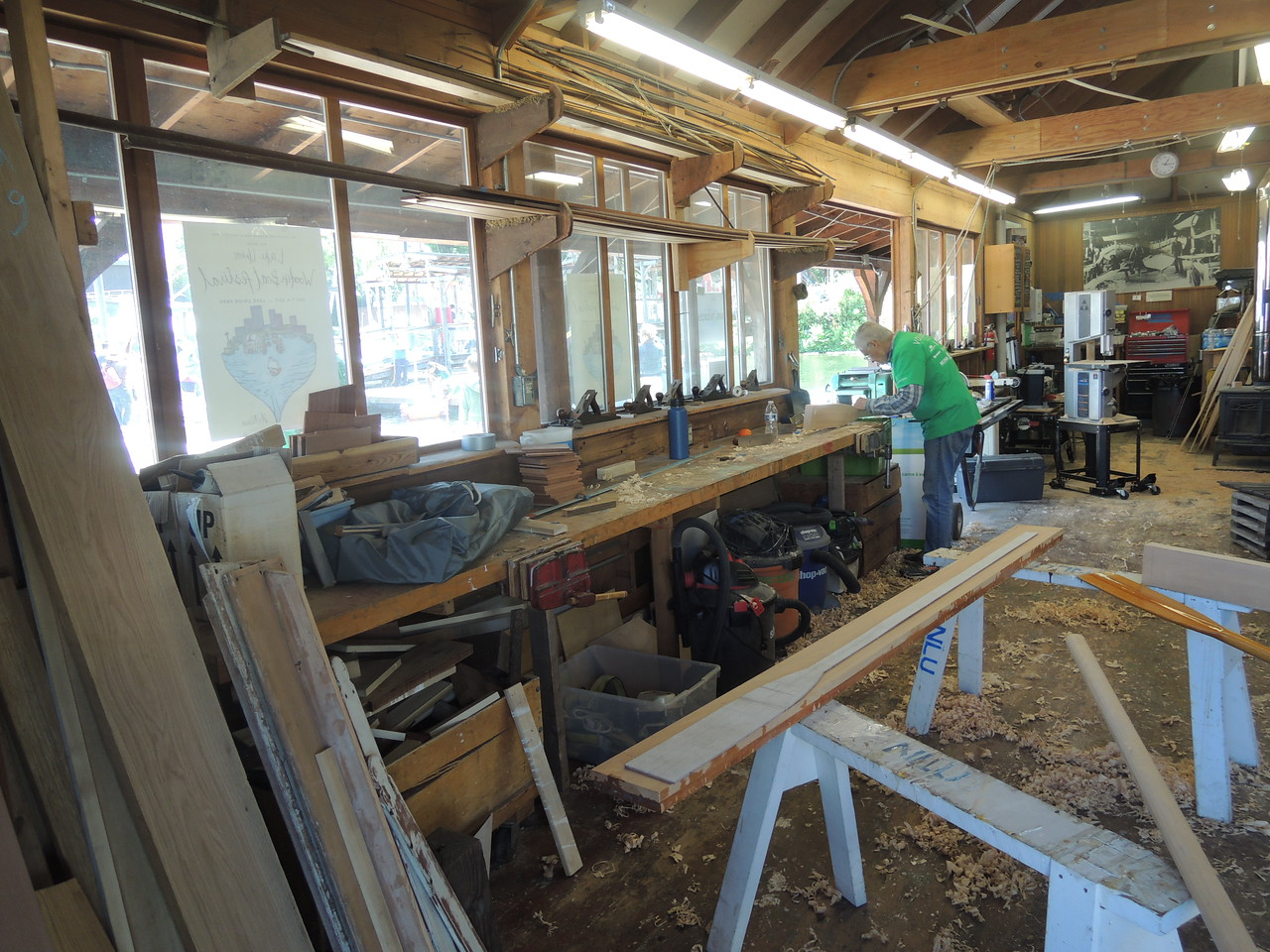 The boatshop.  Oar making in progress.