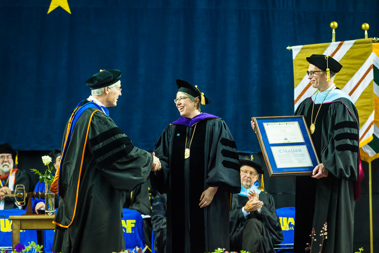 Karen Perdue receives an honorary doctor of laws degree at the commencement ceremony May 6, 2017, at the Carlson Center.