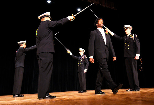 Don Knight | The Herald Bulletin<br /> Roy Thomas is introduced during the Debutante Cotillion Beautillion Militaire at the Paramount on Saturday.