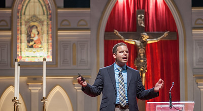 Brandon Vogt speaks about strengthening ourselves in our Catholic Faith in the English track of the Eucharistic Congress.  The Eucharistic Congress brought  together Catholics from across the archdiocese and the country to celebrate the visible, living presence of Jesus in the Eucharist on Friday June 16 and Saturday June 17, 2017 at the Georgia International Convention Center in College Park.  Approximately 30,000 Catholics attended this annual spiritual and multicultural celebration.   This conference featured workshops presented on tracks in five languages:  English, Spanish, American Sign Language, Vietnamese, and French. Some of this year's speakers include Brandon Vogt, Deacon Harold Burke-Sivers, Dr. Gianna Molla, Father Larry Richards, Fr. Michael E. Gaitley, MIC and Sister Jane Dominic Laurel, O.P. (Photo by Thomas Spink)