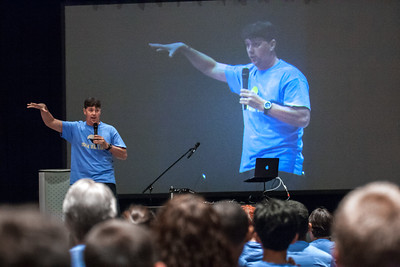 Speaker Doug Tooke, of Monarch Catholic Ministries, talked on the importance of looking to the saints for inspiration to the 300 youth who attended the middle school track at the 2017 Eucharistic Congress. The track for this age group debuted June 17. Photo by Thomas Spink