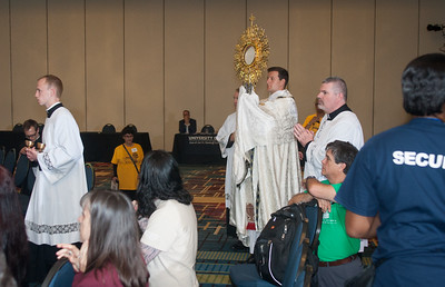 in the Revive track everyone sings praise and worship during holy Adoration. The Eucharistic Congress brought  together Catholics from across the archdiocese and the country to celebrate the visible, living presence of Jesus in the Eucharist on Friday June 16 and Saturday June 17, 2017 at the Georgia International Convention Center in College Park.  Approximately 30,000 Catholics attended this annual spiritual and multicultural celebration.   This conference featured workshops presented on tracks in five languages:  English, Spanish, American Sign Language, Vietnamese, and French. Some of this year's speakers include Brandon Vogt, Deacon Harold Burke-Sivers, Dr. Gianna Molla, Father Larry Richards, Fr. Michael E. Gaitley, MIC and Sister Jane Dominic Laurel, O.P. (Photo by Thomas Spink)
