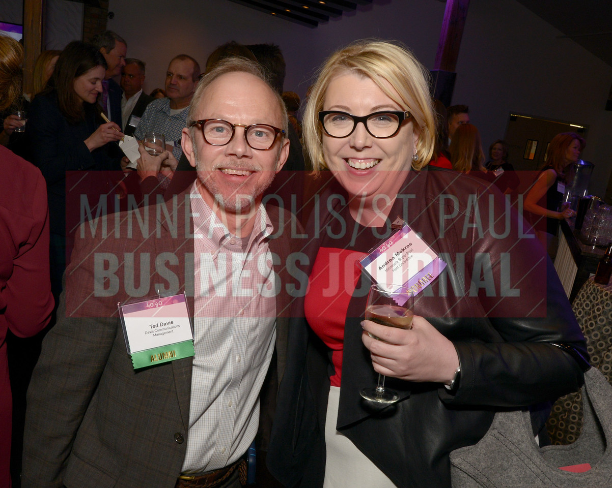 Ted Davis and 2017 40 Under 40 honoree Andrea Mokros of the Minnesota Super Bowl Host Committee.