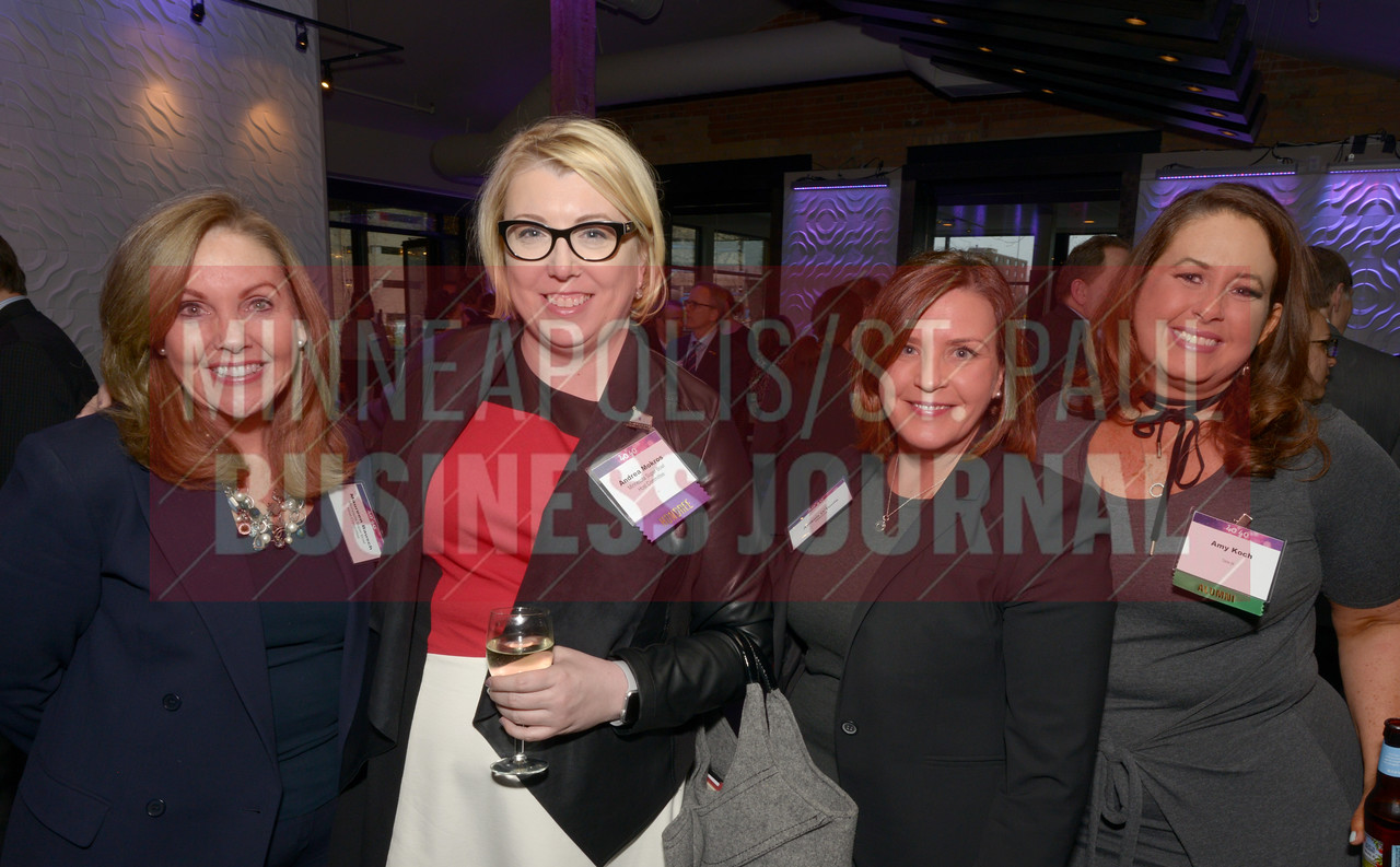 From left, Maureen Bausch, 2017 40 Under 40 honoree Andrea Mokros of the Minnesota Super Bowl Host Committee, Allison O'Toole of MNsure and Amy Koch