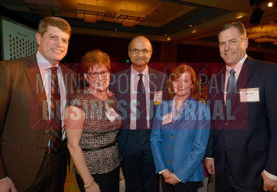From left, Jeff Smith, Mary Smith, Omar Ishrak, Sarah Caruso and Rob Clark