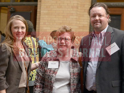 From left; 2017 Women in Business award winner Anita Drentla of New Market Bank along with Laura Vogel and Jeremy Drentlaw.