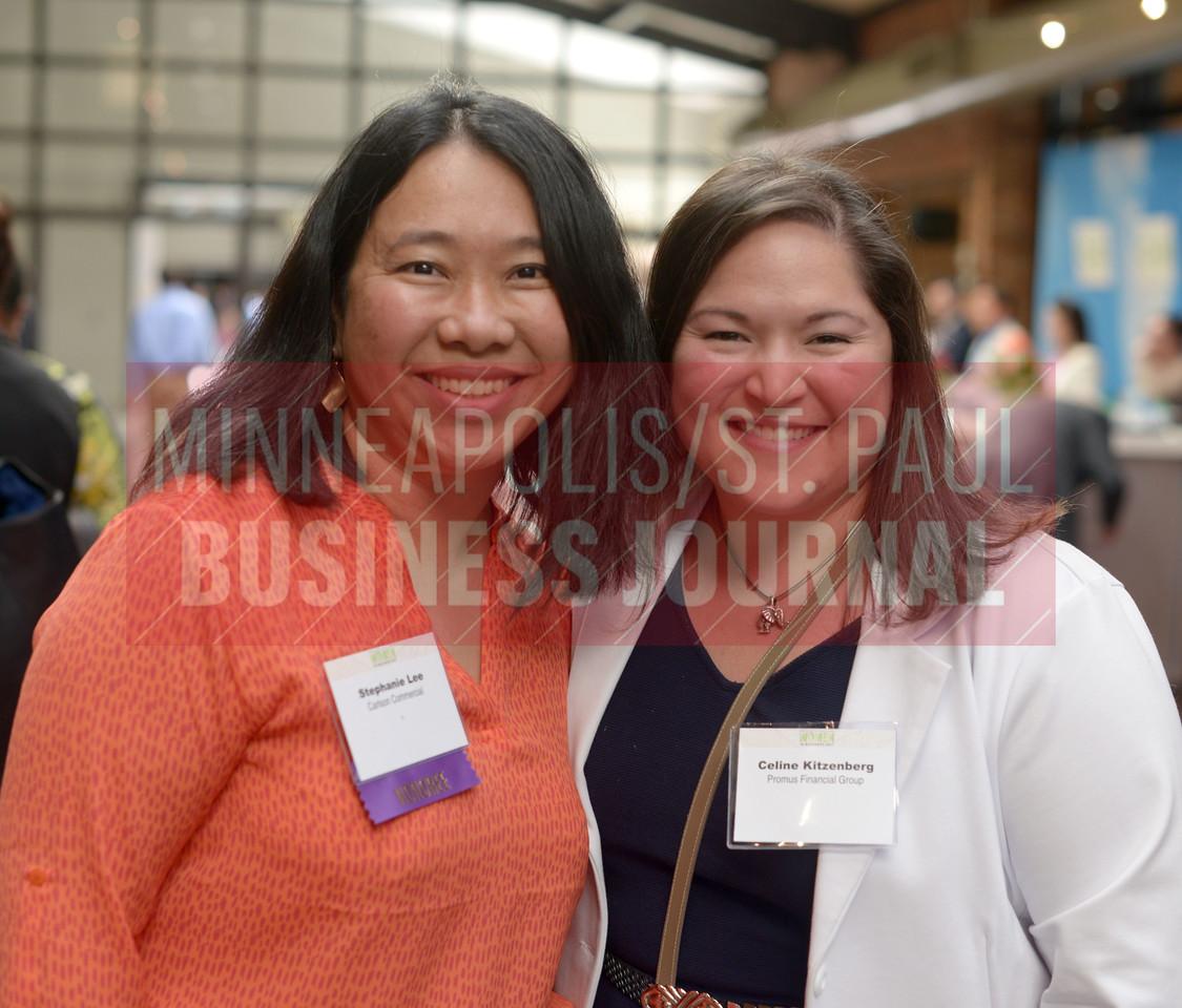 2017 Women in Business award winner Stephanie Lee (left) and Celine Kitzenberg