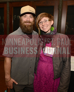 2017 Minneapolis/St. Paul Business Journal Women in Business honoree Sarah Bonvalley of Dangerous Man Brewing Company along with her husband Rob.