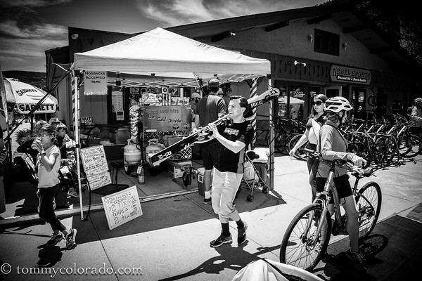 Any time of year in the Colorado mountain towns, a combination of bikes, skis and bbq
