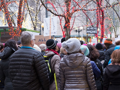 20170129.  Immigrant ban protest at Westlake Center, Seattle WA.